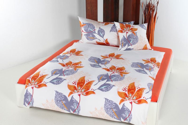 baumwoll satin bettw sche set malonja orange. Black Bedroom Furniture Sets. Home Design Ideas
