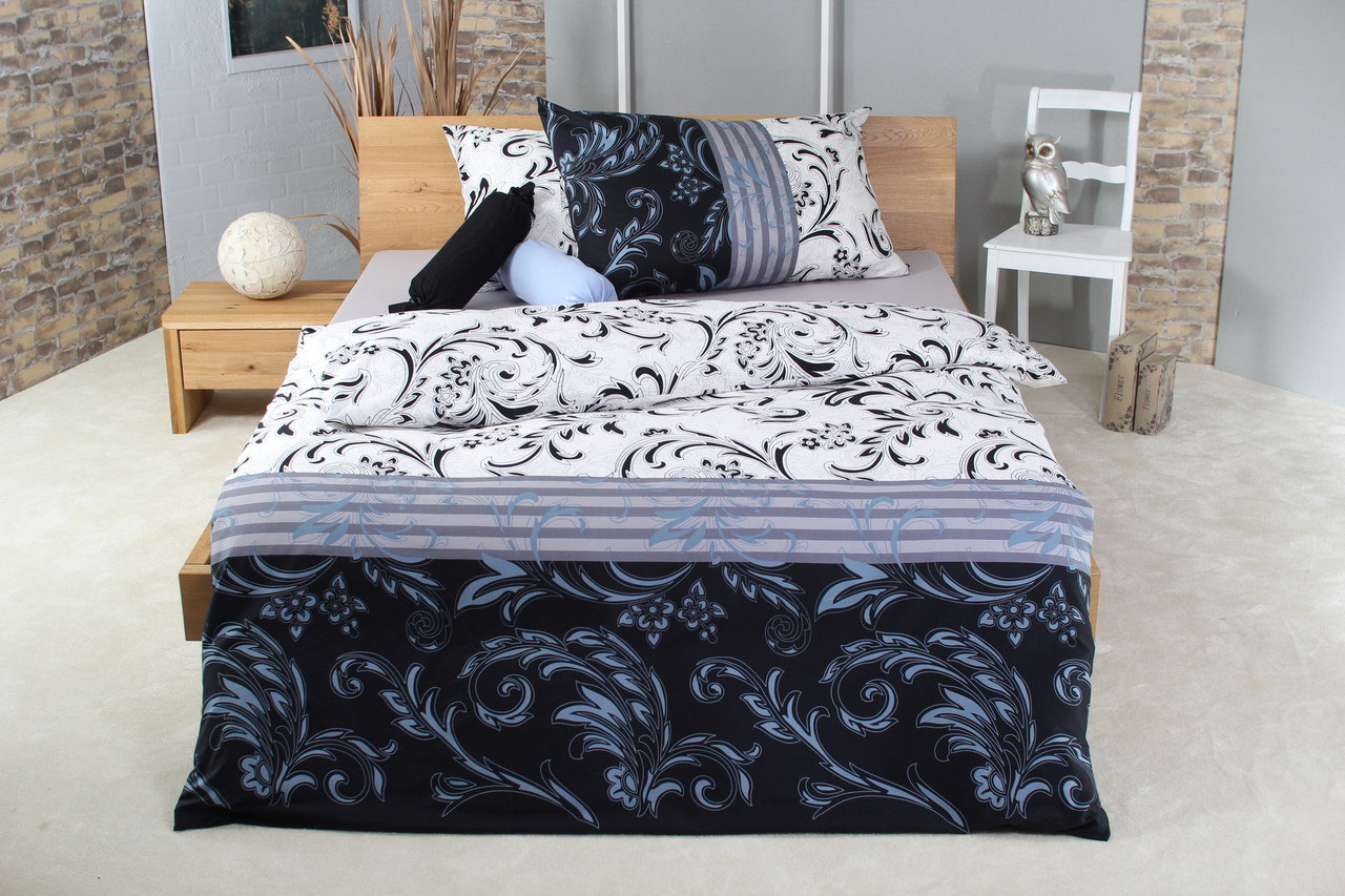 baumwoll satin bettw sche set cassandra black. Black Bedroom Furniture Sets. Home Design Ideas